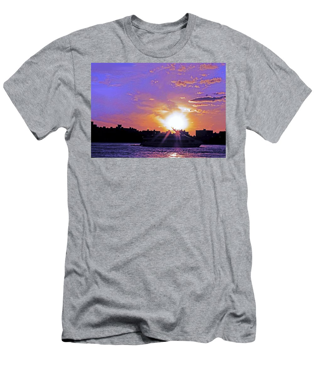 Boat Men's T-Shirt (Athletic Fit) featuring the photograph Cruising Down The Hudson by Kendall Eutemey