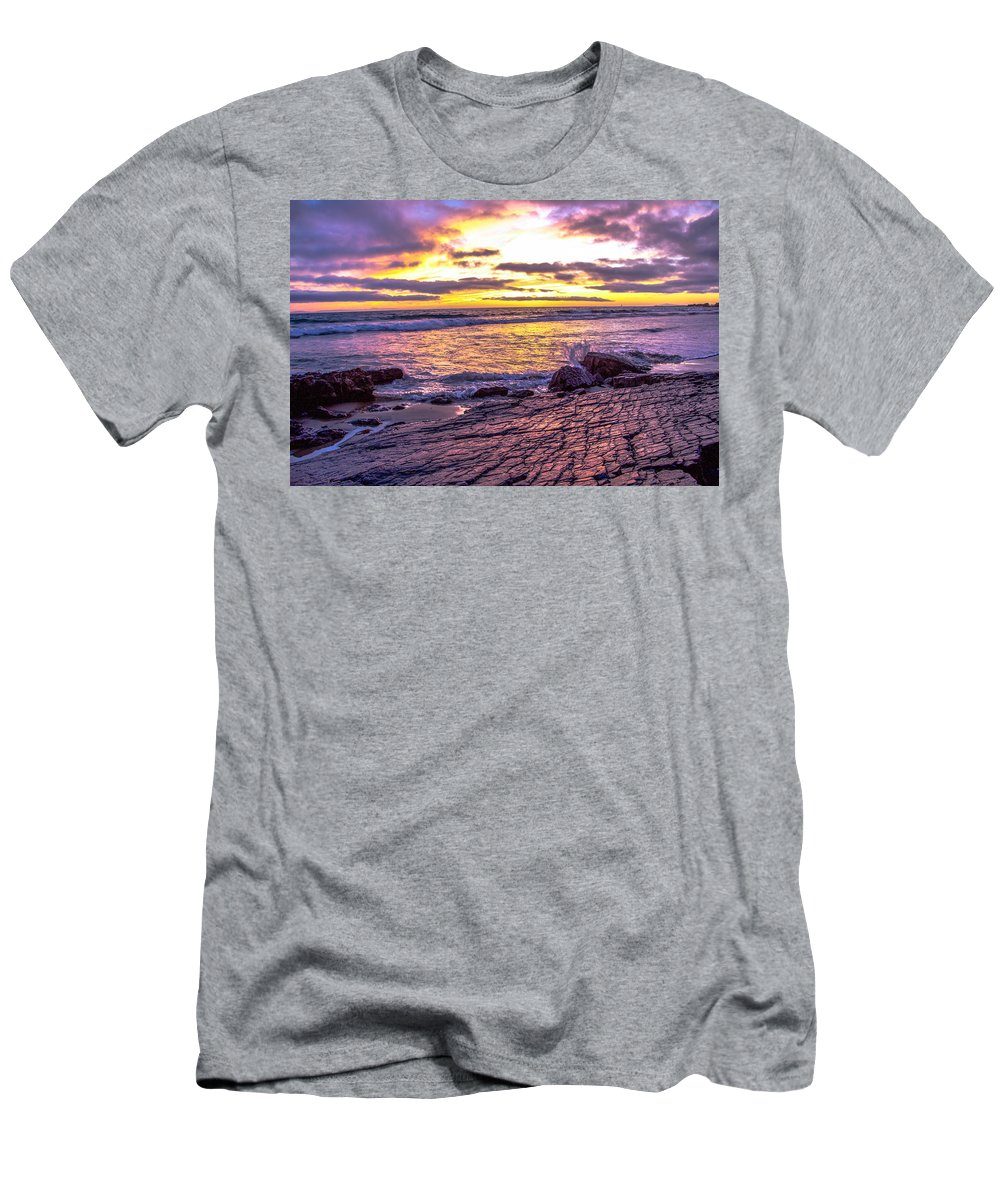 Landscape Men's T-Shirt (Athletic Fit) featuring the photograph Crystal Cove Skyfire by Matthew Ojeda