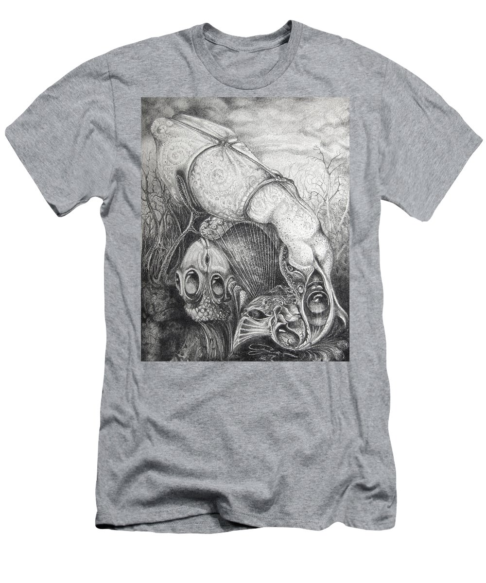Surrealism Men's T-Shirt (Athletic Fit) featuring the drawing Ctulhu Seedpods by Otto Rapp