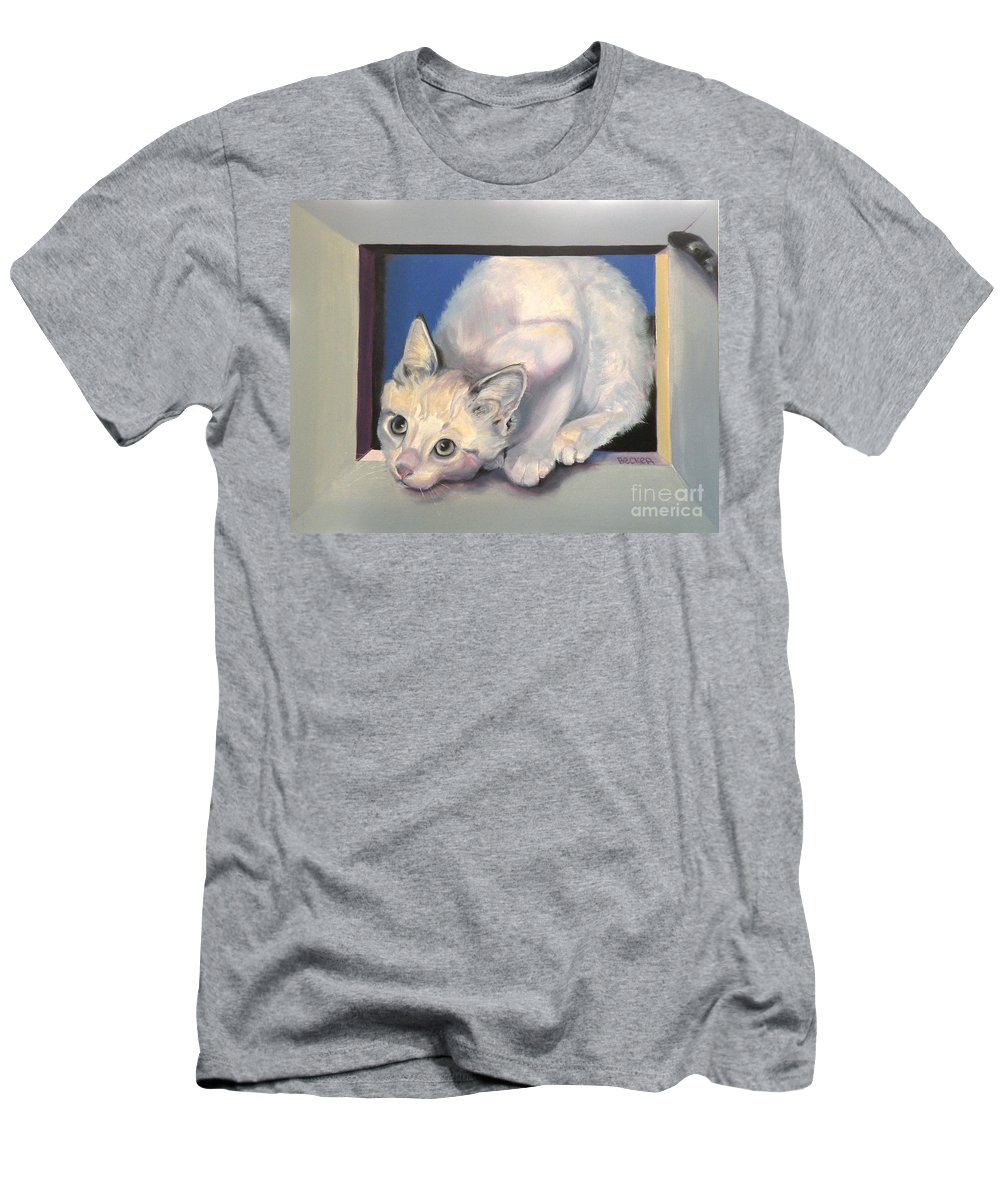 Cat Greeting Card Men's T-Shirt (Athletic Fit) featuring the painting Curiosity by Susan A Becker
