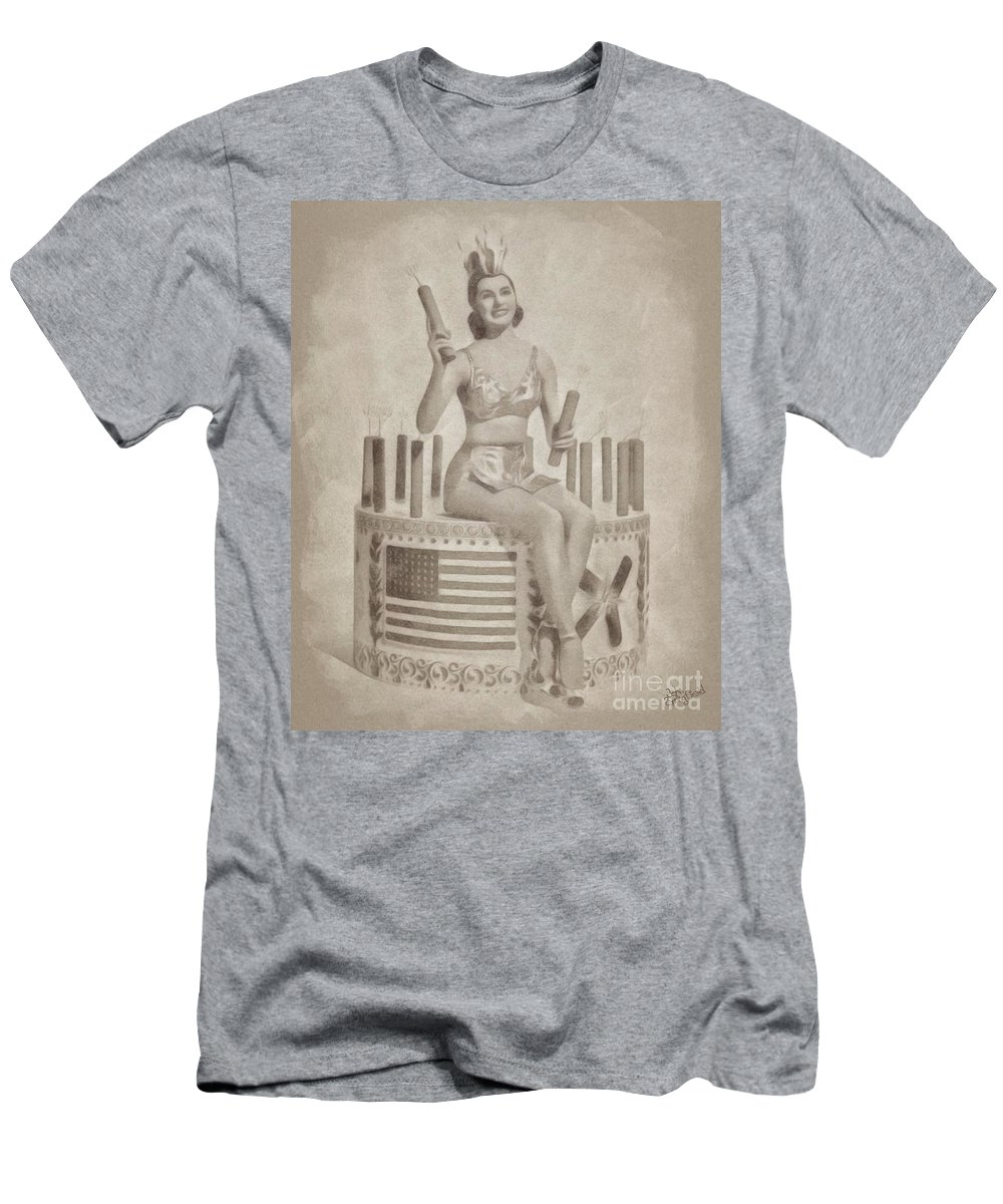 Hollywood Men's T-Shirt (Athletic Fit) featuring the drawing Cyd Charisse Hollywood Actress, Pinup And Dancer by John Springfield