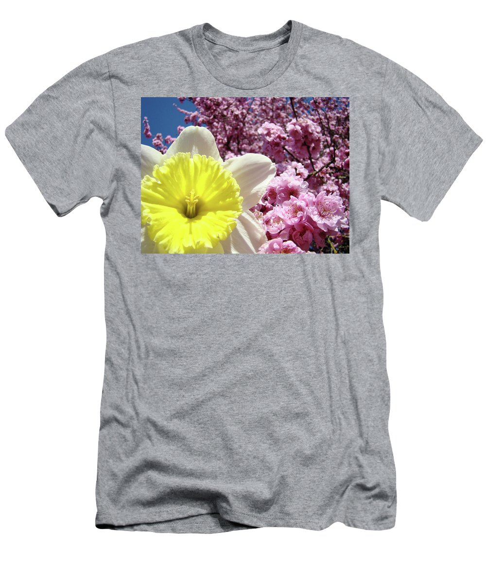 Landscape Men's T-Shirt (Athletic Fit) featuring the photograph Daffodil Flower Art Prints Pink Tree Blossoms Blue Sky Baslee by Baslee Troutman