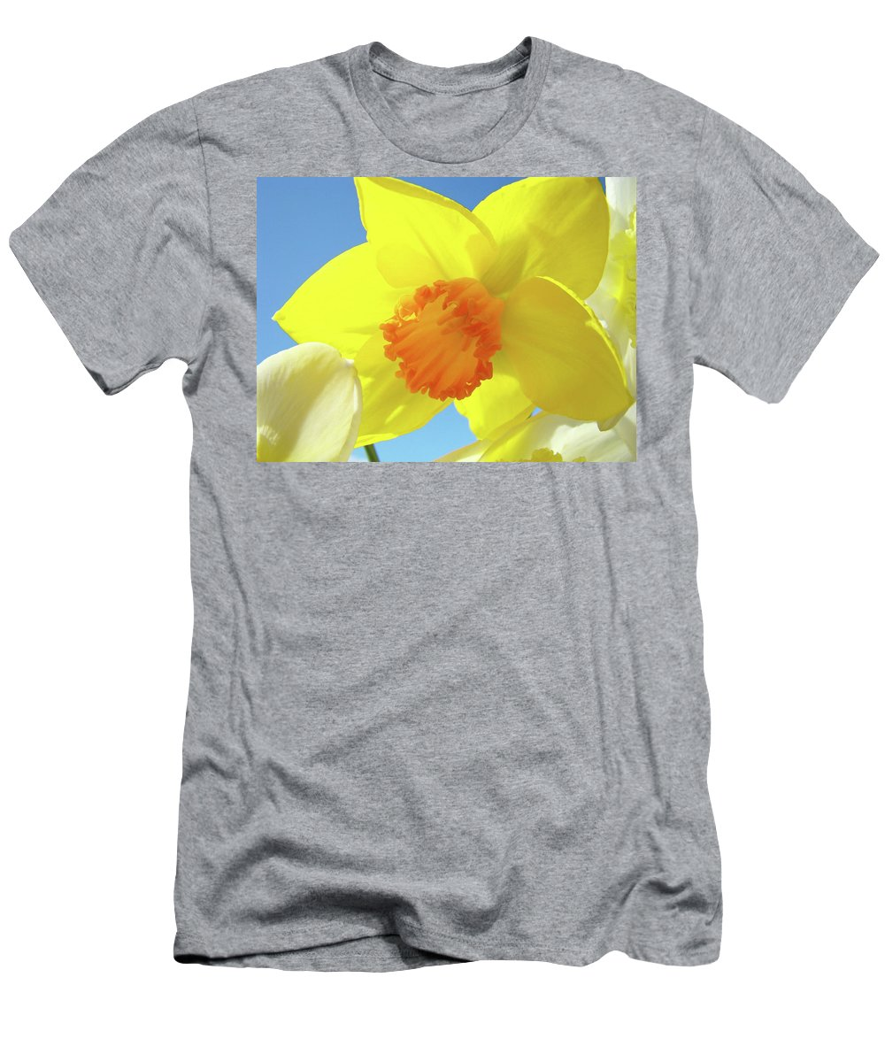 �daffodils Artwork� Men's T-Shirt (Athletic Fit) featuring the photograph Daffodil Flowers Artwork 18 Spring Daffodils Art Prints Floral Artwork by Baslee Troutman