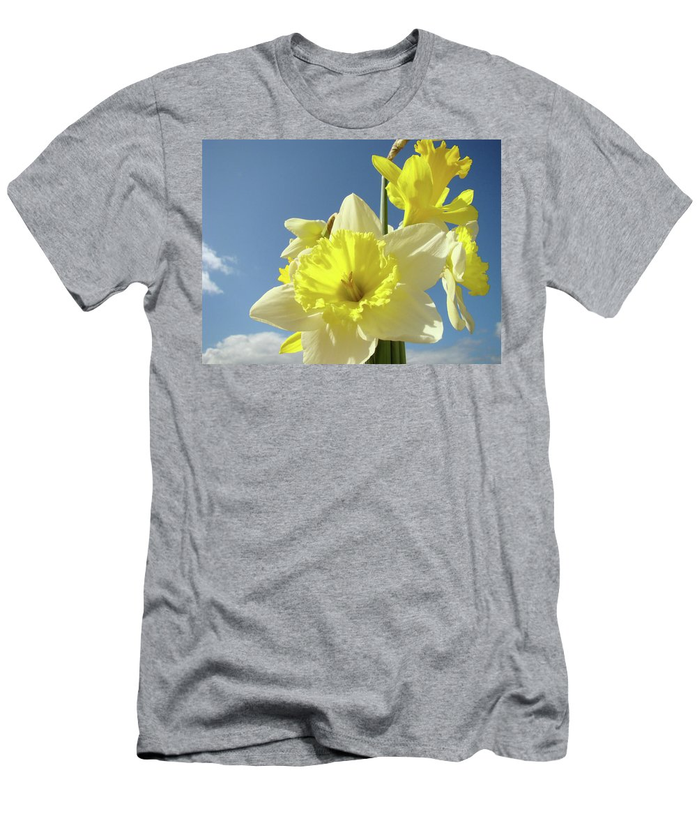 �daffodils Artwork� Men's T-Shirt (Athletic Fit) featuring the photograph Daffodil Flowers Artwork Floral Photography Spring Flower Art Prints by Baslee Troutman