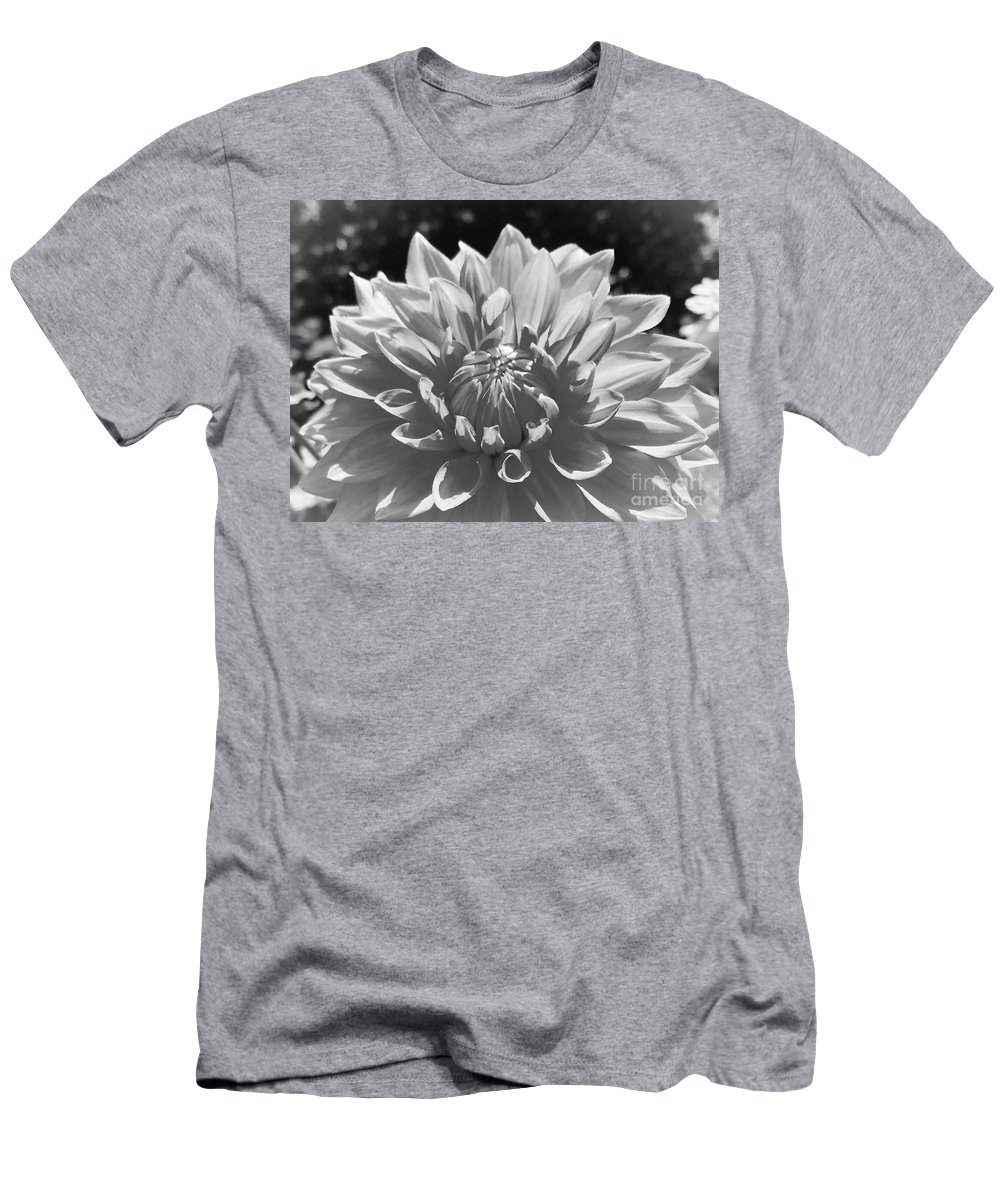 Dahlias Men's T-Shirt (Athletic Fit) featuring the photograph Dahlia In Black And White 2 by Jane Powell
