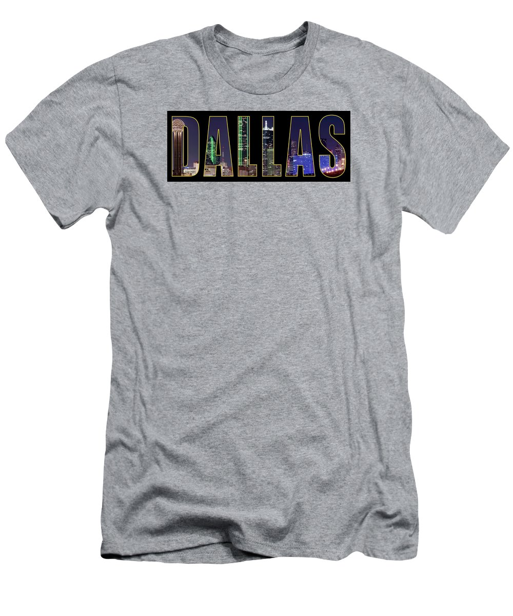 Dallas Men's T-Shirt (Athletic Fit) featuring the photograph Dallas Letter Skyline 013018 by Rospotte Photography
