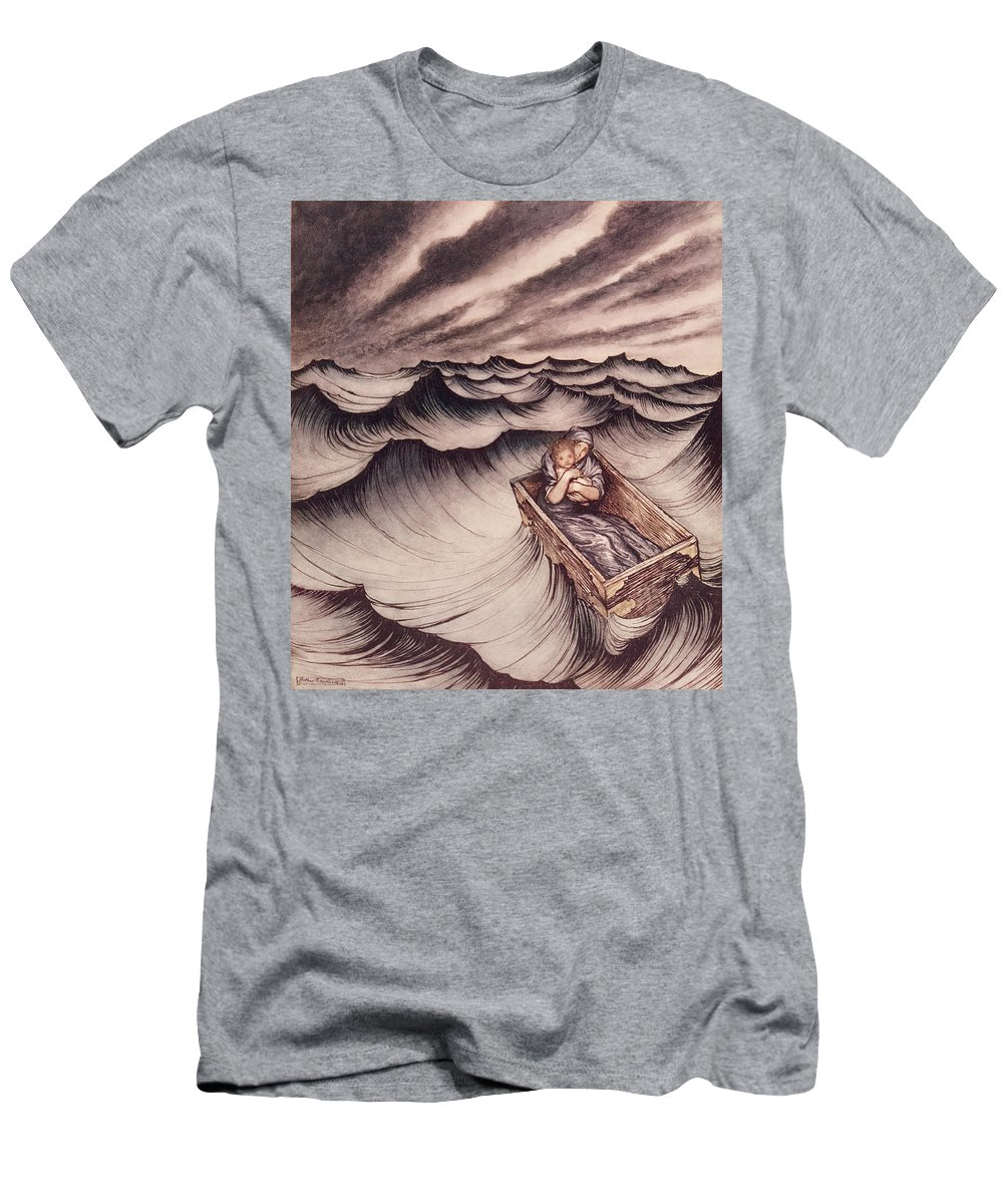 Arthur Rackham Men's T-Shirt (Athletic Fit) featuring the drawing Danae And Her Son Perseus Put In A Chest And Cast Into The Sea by Arthur Rackham