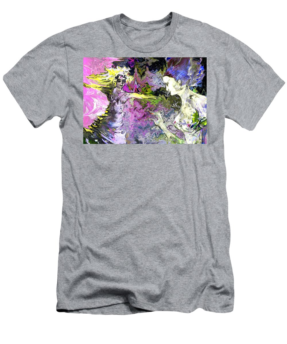 Miki Men's T-Shirt (Athletic Fit) featuring the painting Dance In Violet by Miki De Goodaboom