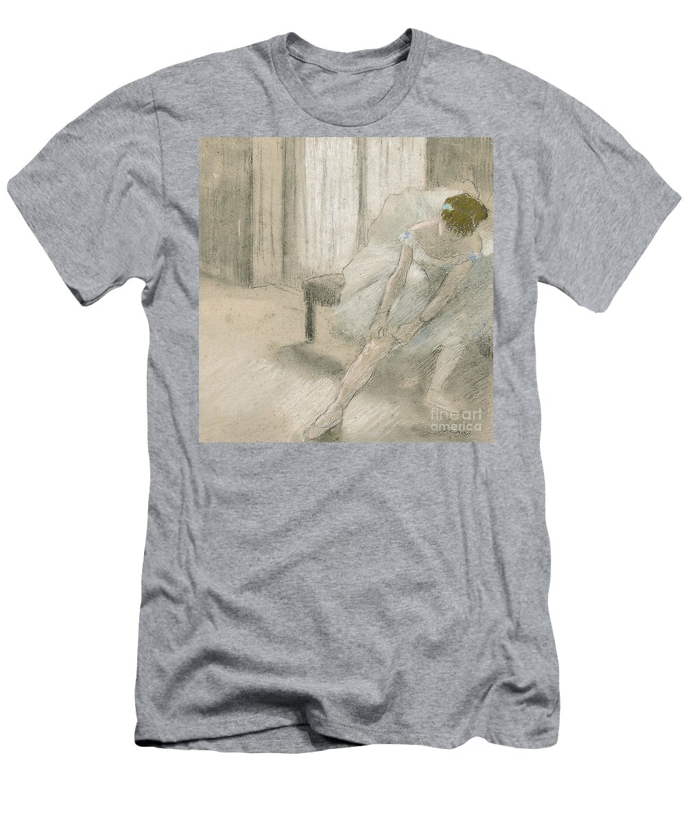 Degas Men's T-Shirt (Athletic Fit) featuring the pastel Dancer Seated, Readjusting Her Stocking by Edgar Degas