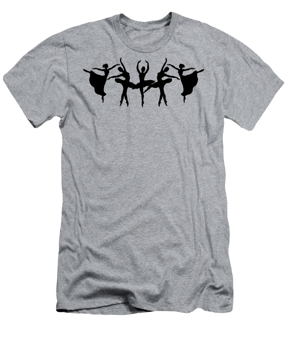 Black Silhouette Men's T-Shirt (Athletic Fit) featuring the painting Dancing Ballerinas Silhouette by Irina Sztukowski
