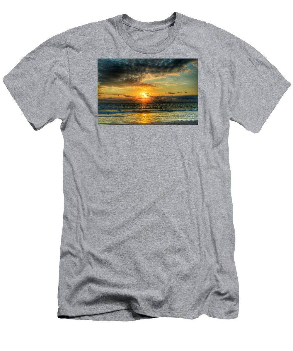 Sunrise Men's T-Shirt (Athletic Fit) featuring the photograph Dark Sky Angles by Glenn Forman