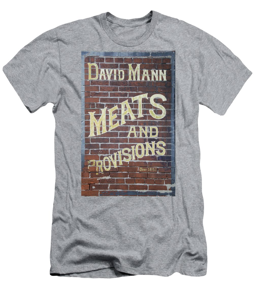 David Men's T-Shirt (Athletic Fit) featuring the photograph David Mann - Meats And Provisions by Bill Cannon