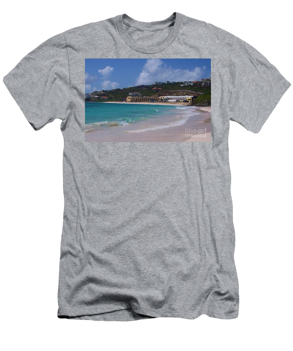 Dawn Beach Men's T-Shirt (Athletic Fit) featuring the photograph Dawn Beach by Debbi Granruth