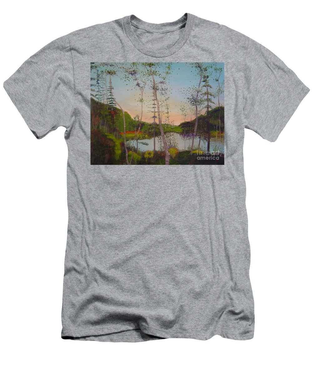 Landscape Men's T-Shirt (Athletic Fit) featuring the painting Dawn By The Pond by Lilibeth Andre