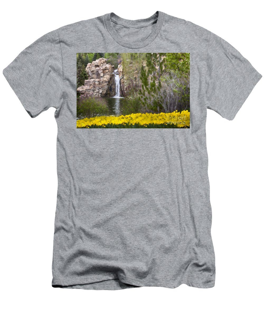Day At The Falls Men's T-Shirt (Athletic Fit) featuring the mixed media Day At The Falls by David Millenheft