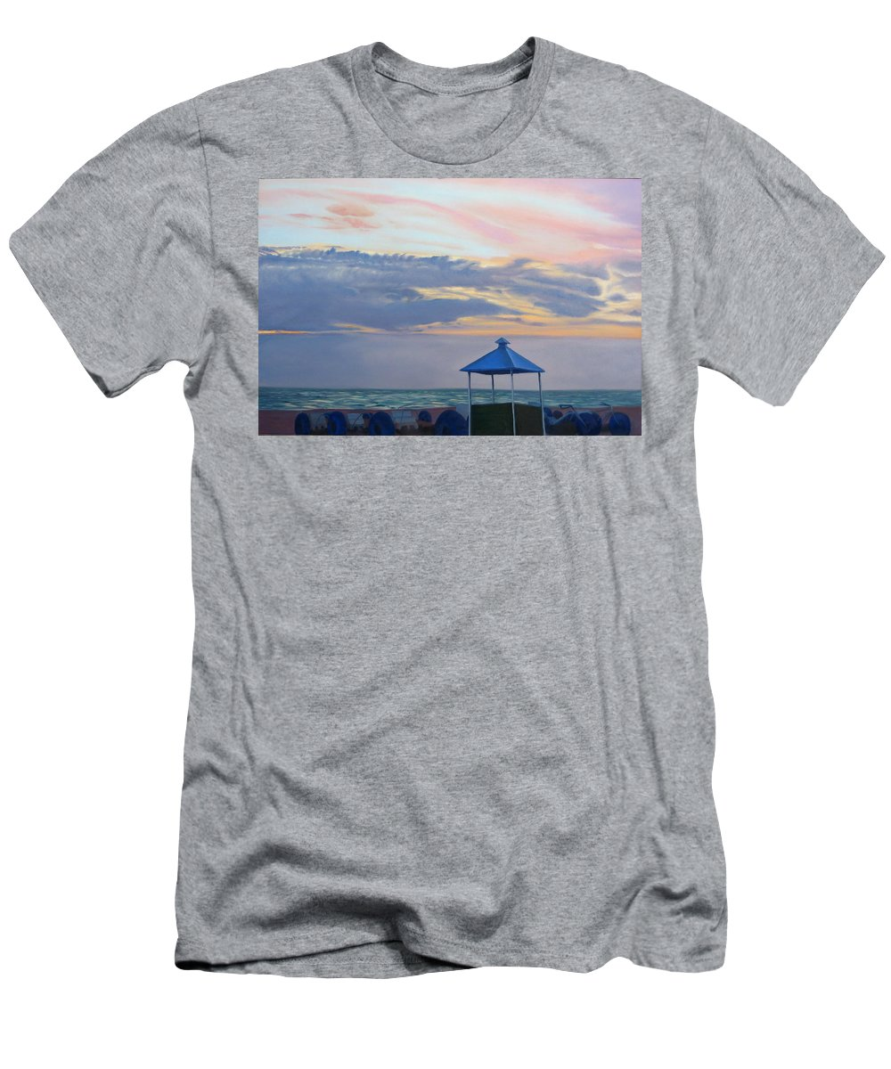 Sunset Men's T-Shirt (Athletic Fit) featuring the painting Day Is Done by Lea Novak
