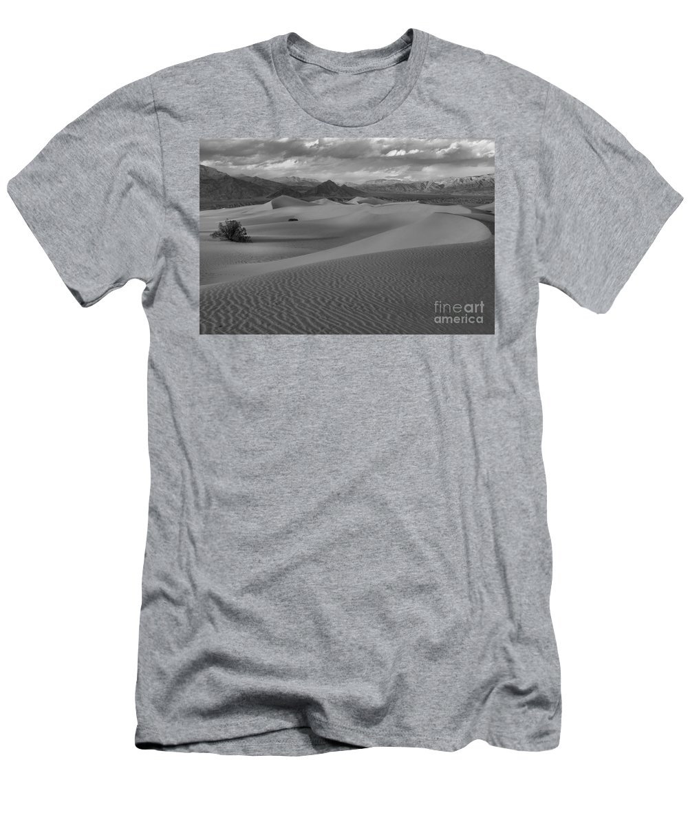 Black And White Men's T-Shirt (Athletic Fit) featuring the photograph Death Valley Dunes Black And White by Adam Jewell