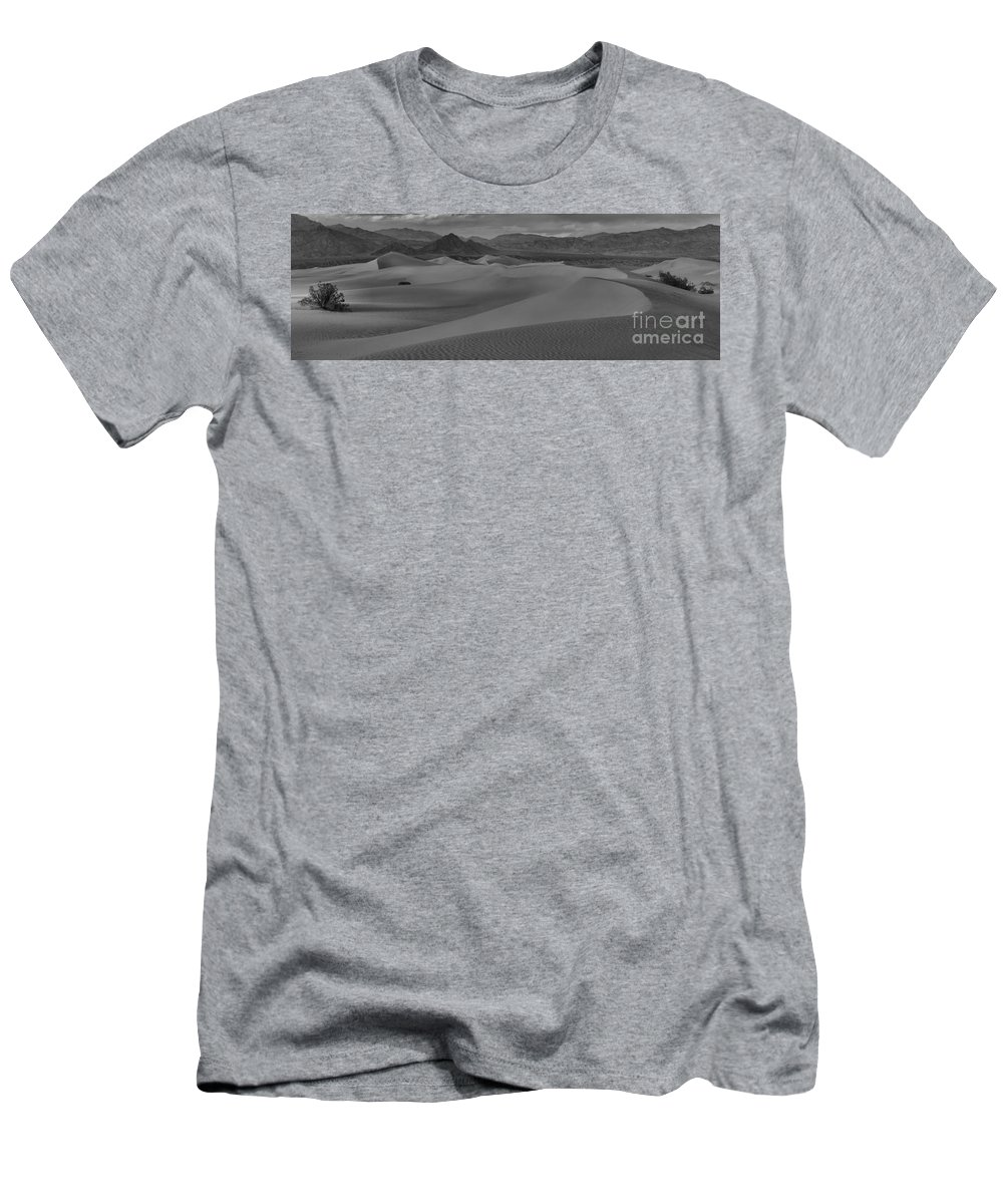 Black And White Men's T-Shirt (Athletic Fit) featuring the photograph Death Valley Dunes Black And White Panorama by Adam Jewell