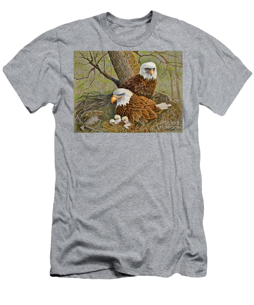 American Bald Eagles Men's T-Shirt (Athletic Fit) featuring the drawing Decorah Eagle Family by Marilyn Smith