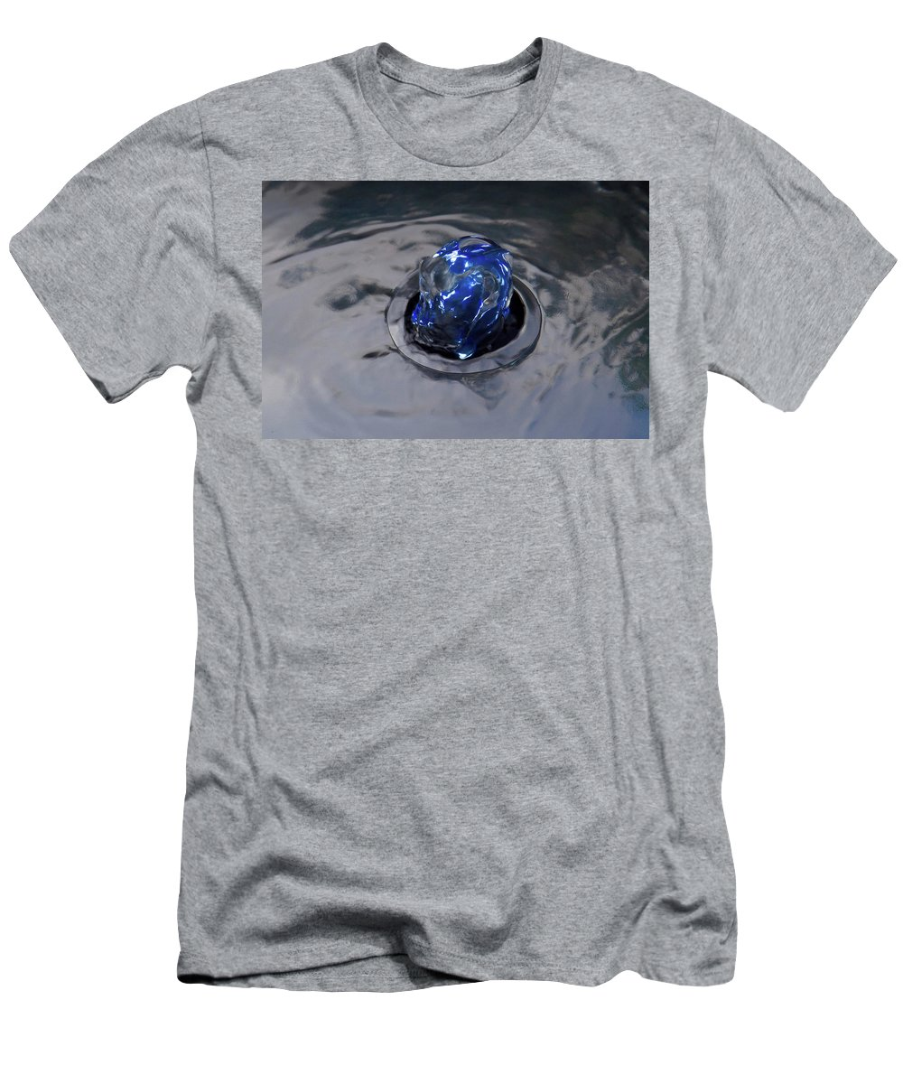 Blue Water Fountain Men's T-Shirt (Athletic Fit) featuring the photograph Deep Blue by Simon J Beer