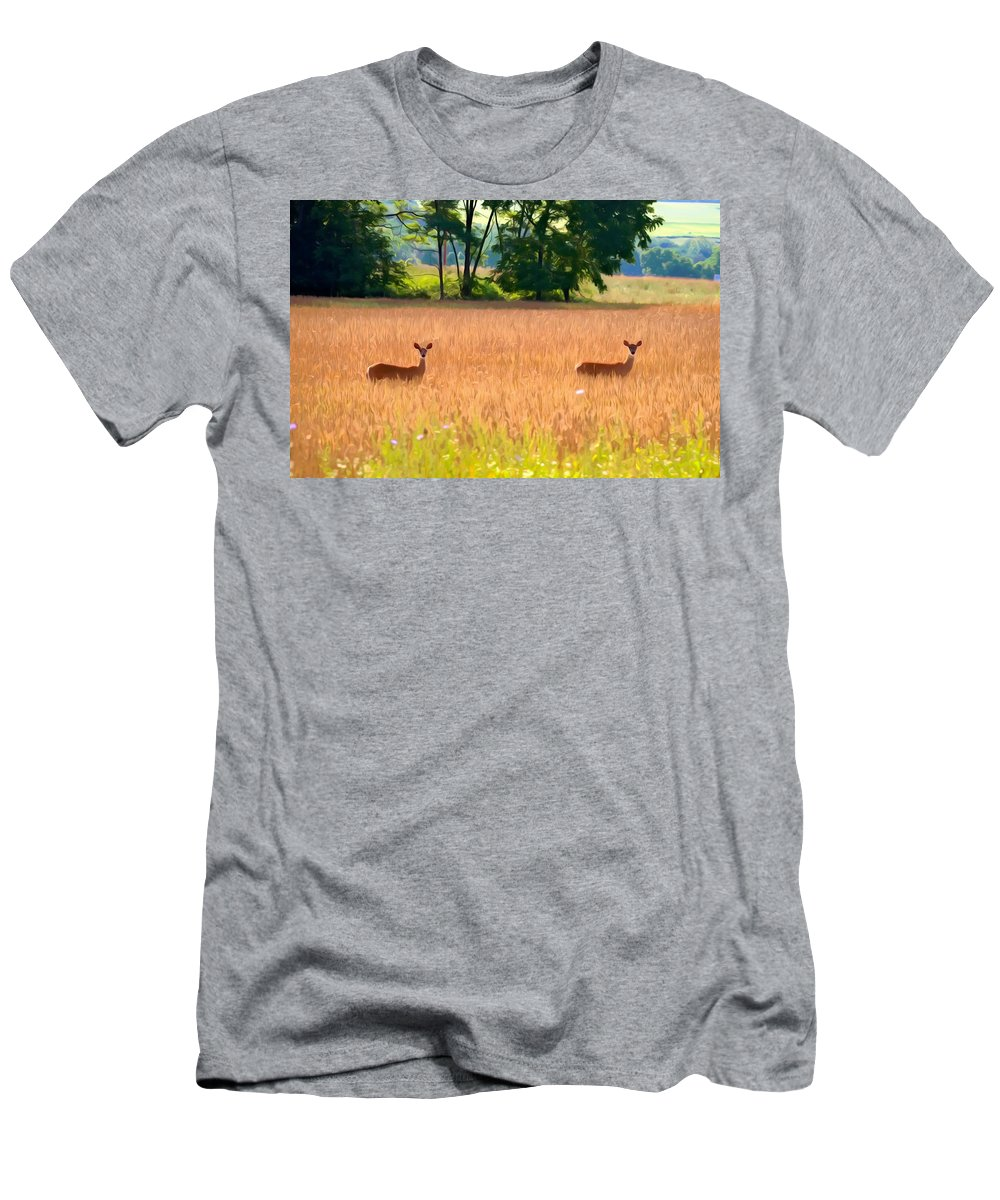 Deer Men's T-Shirt (Athletic Fit) featuring the photograph Deer In A Field by Carol J Deltoro