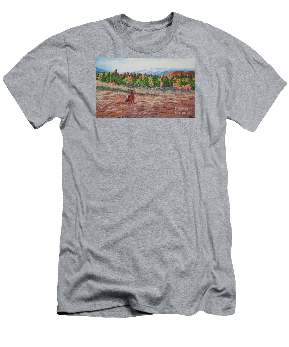 Fall Paintings Men's T-Shirt (Athletic Fit) featuring the painting Deer In Fall by Charlotte Blanchard