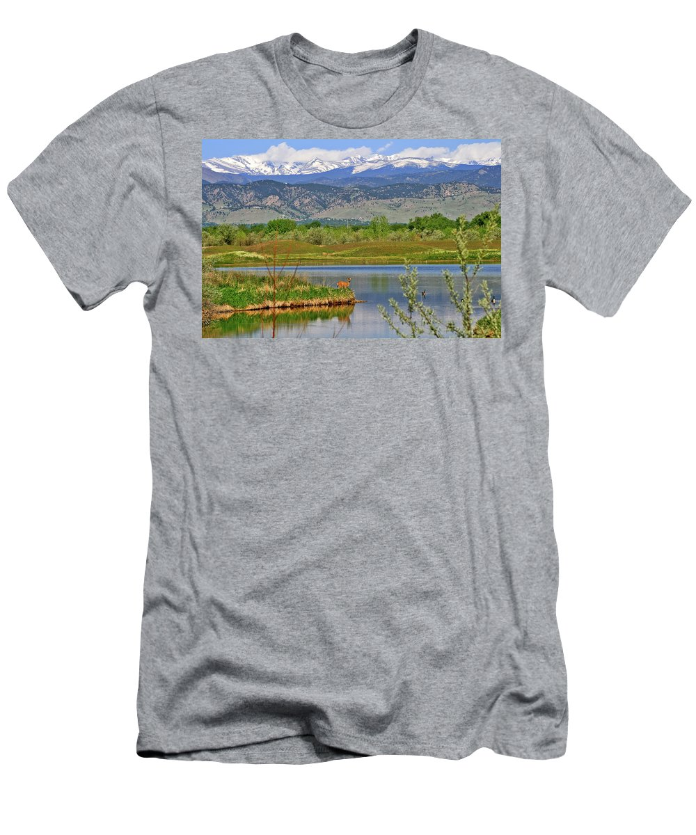 Deer Men's T-Shirt (Athletic Fit) featuring the photograph Deer Island by Scott Mahon