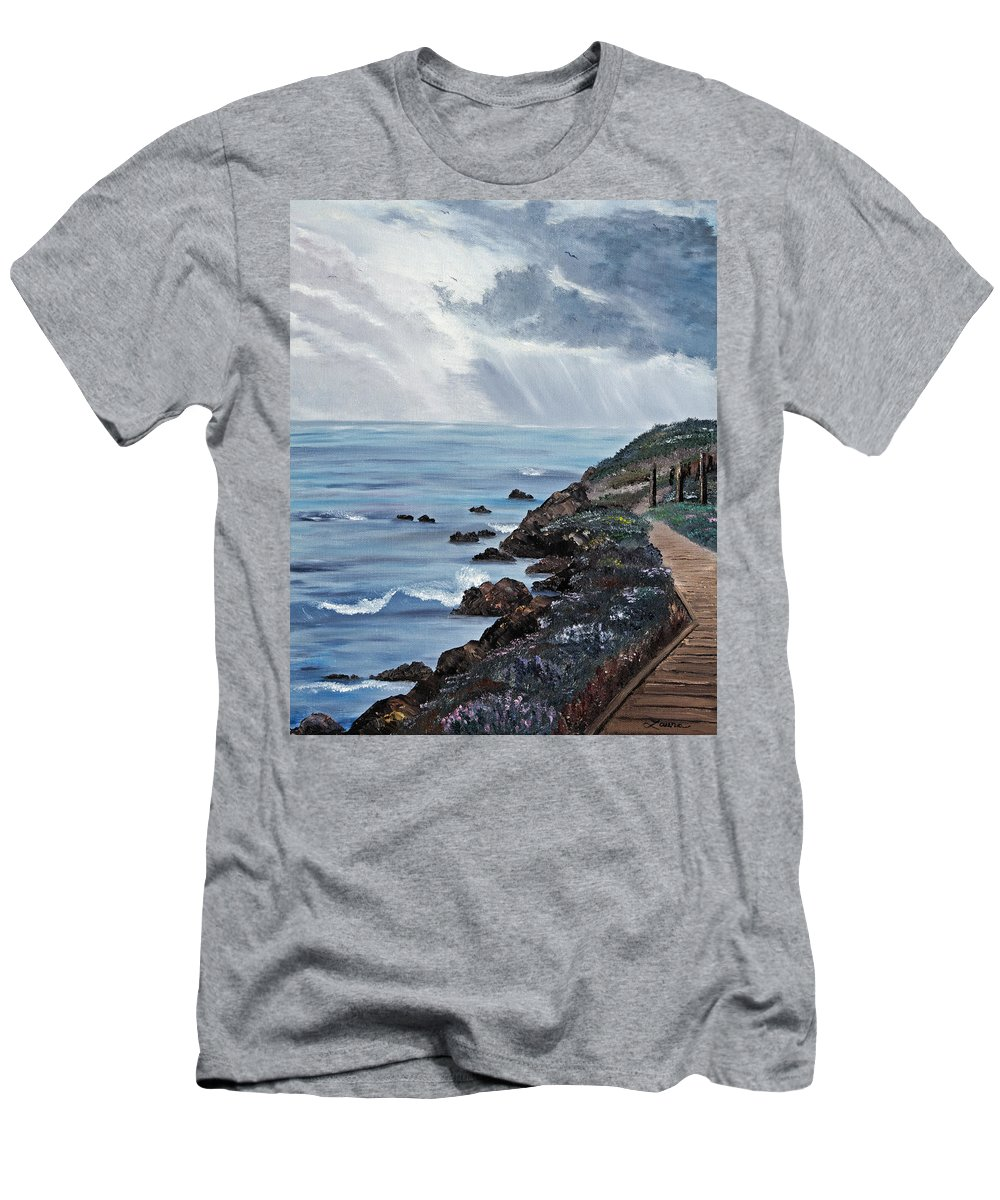 Seascape Men's T-Shirt (Athletic Fit) featuring the painting Departing Storm by Laura Iverson