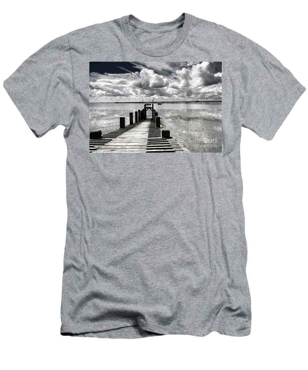Wharf Southend Essex England Beach Sky Men's T-Shirt (Athletic Fit) featuring the photograph Derelict Wharf by Sheila Smart Fine Art Photography
