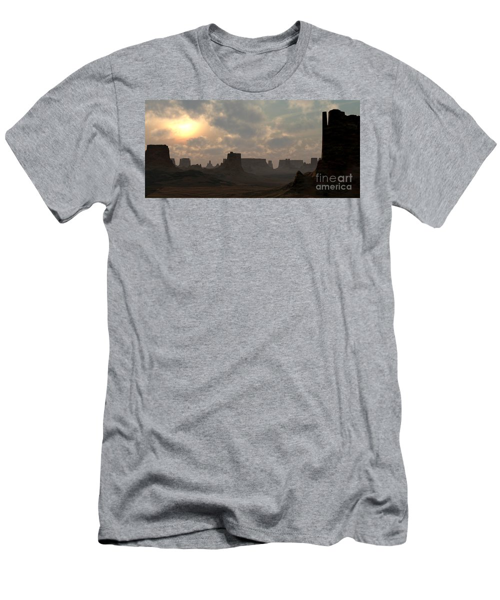 Desert Men's T-Shirt (Athletic Fit) featuring the digital art Desert Morning by Richard Rizzo