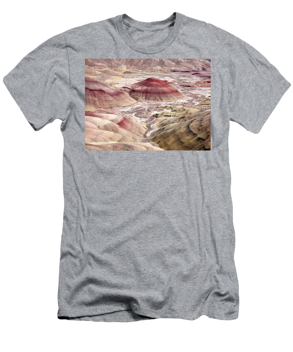 Painted Hills Men's T-Shirt (Athletic Fit) featuring the photograph Desert Palette by Mike Dawson