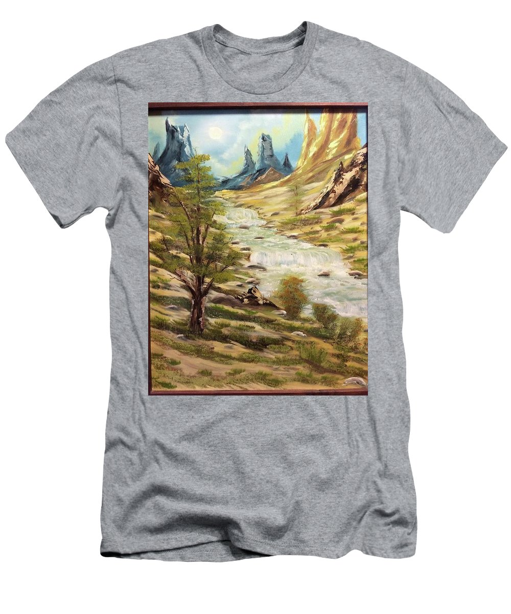 Desert Men's T-Shirt (Athletic Fit) featuring the painting Desert River by Kevin Nunn