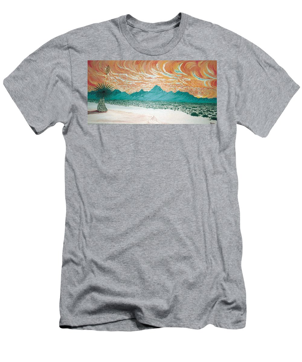 Desertscape Men's T-Shirt (Athletic Fit) featuring the painting Desert Splendor by Marco Morales