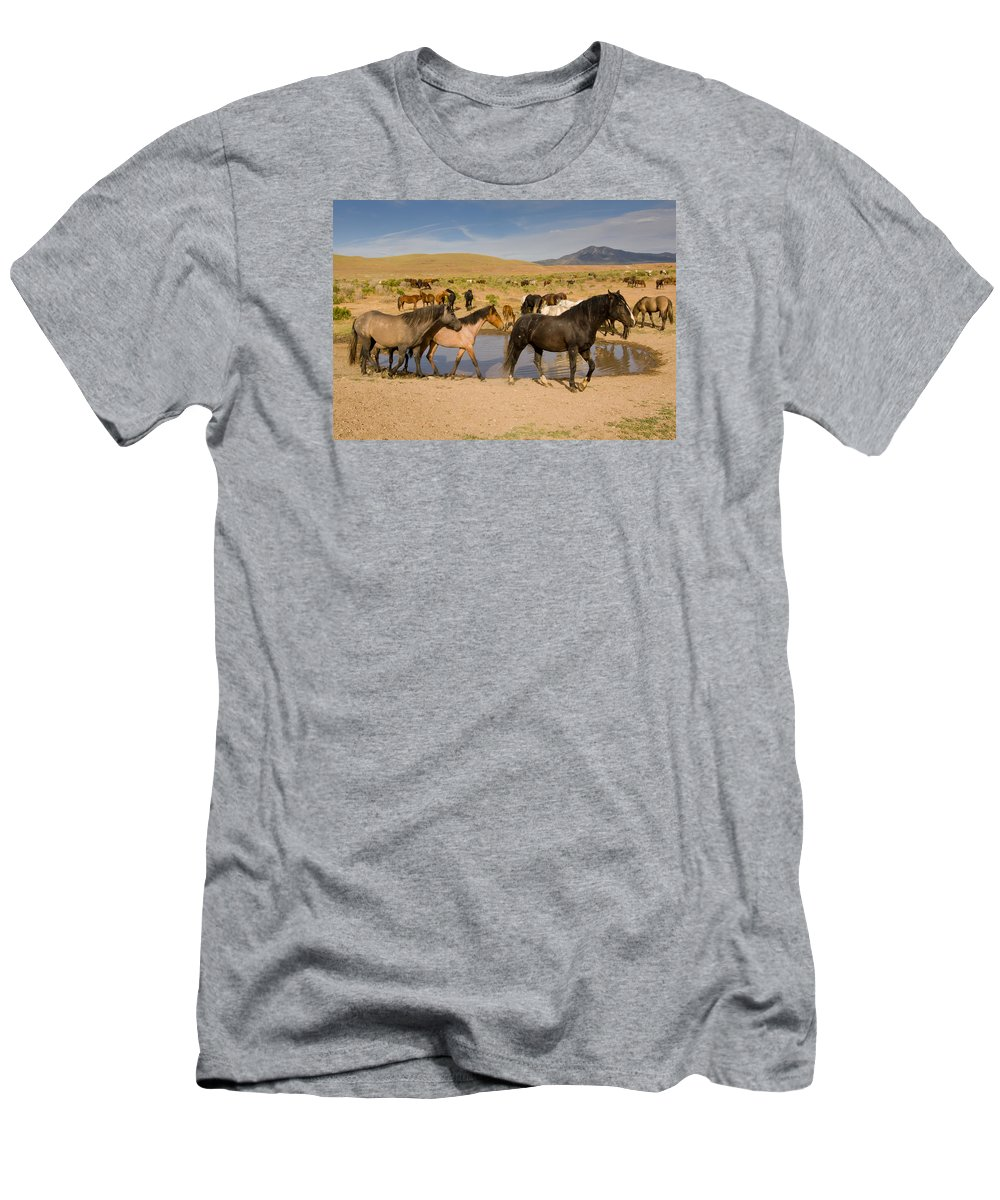 Wild Horse Men's T-Shirt (Athletic Fit) featuring the photograph Desert Water by Kent Keller