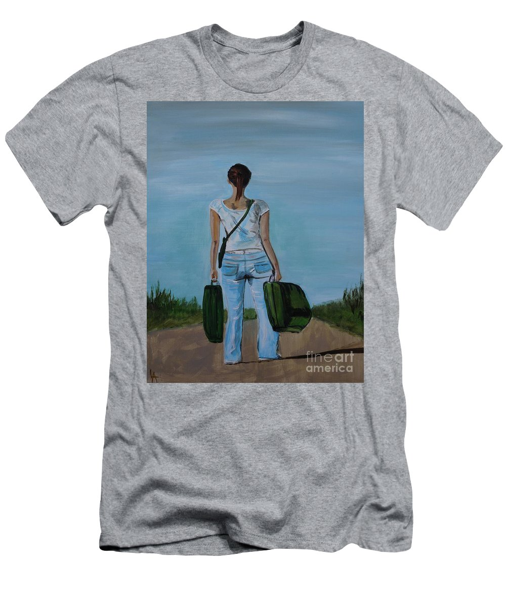 Woman Men's T-Shirt (Athletic Fit) featuring the painting Destination Unknown by Leslie Allen