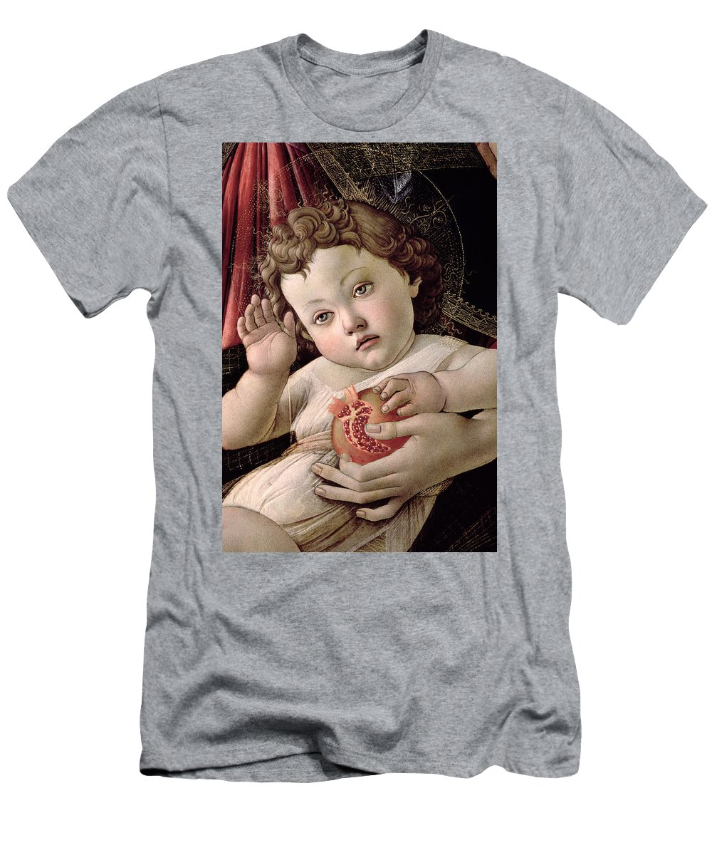 Detail Men's T-Shirt (Athletic Fit) featuring the painting Detail Of The Christ Child From The Madonna Of The Pomegranate by Sandro Botticelli