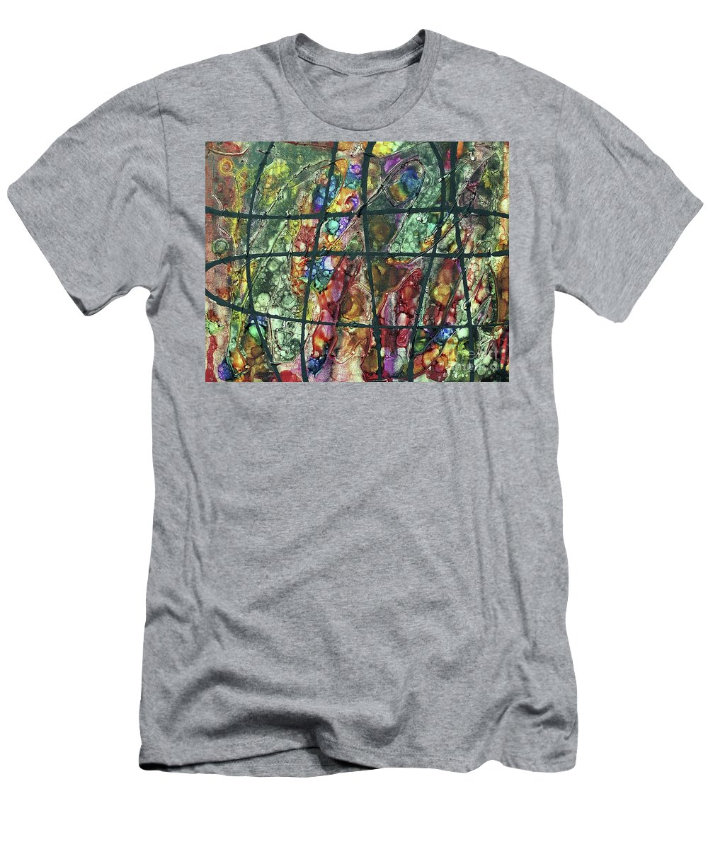 Keith Elliott Men's T-Shirt (Athletic Fit) featuring the painting Diabolical Madness - V1lsu100 by Keith Elliott
