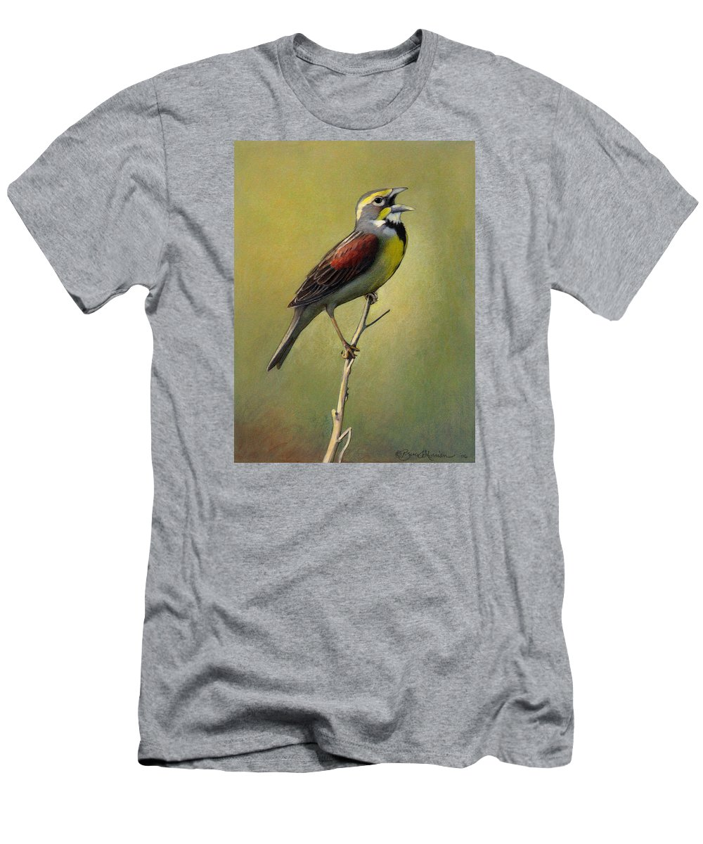 Birds Men's T-Shirt (Athletic Fit) featuring the drawing Dickcissel Summer Song by Bruce Morrison