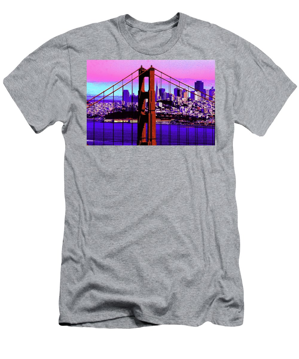 Bay Men's T-Shirt (Athletic Fit) featuring the photograph Digital Sunset - Ggb by Lou Ford