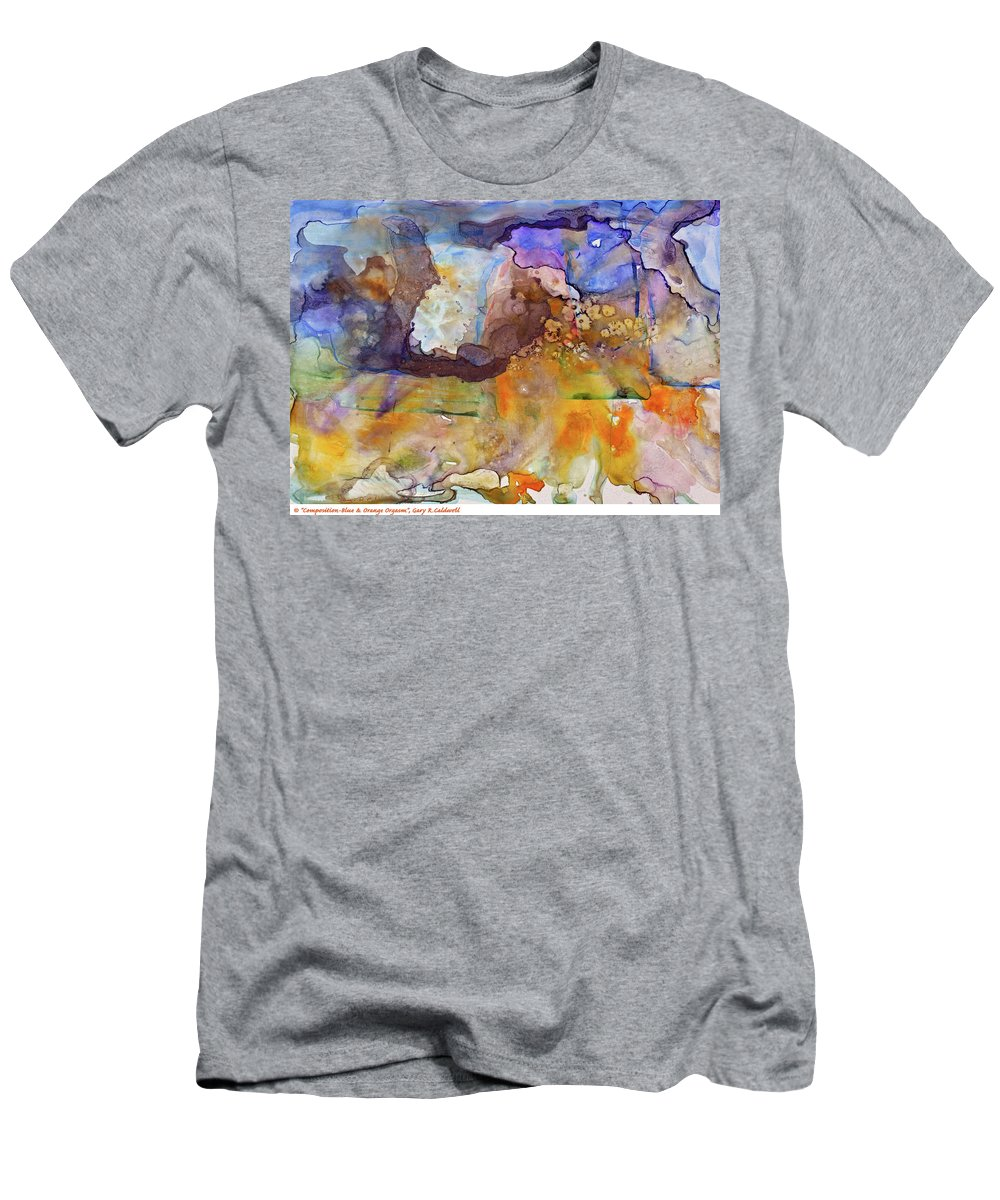 Fine Art Men's T-Shirt (Athletic Fit) featuring the painting Digital_blue And Orange Orgasm by Gary R Caldwell