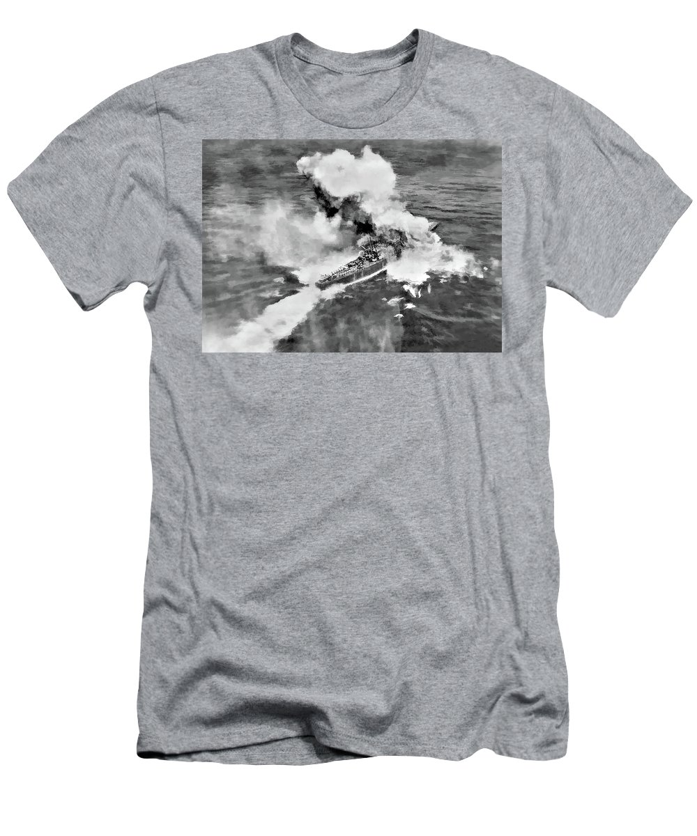 Ww Ii Men's T-Shirt (Athletic Fit) featuring the photograph Direct Hit by Steve Harrington