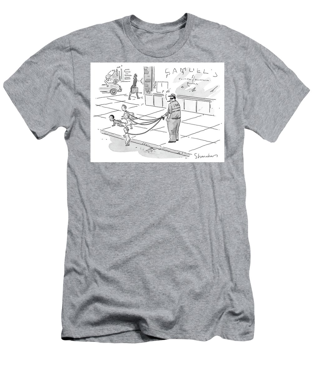 Dogs - Walking; Daycare; Babies - General; Discount Daycare Men's T-Shirt (Athletic Fit) featuring the drawing Discount Day Care by Danny Shanahan