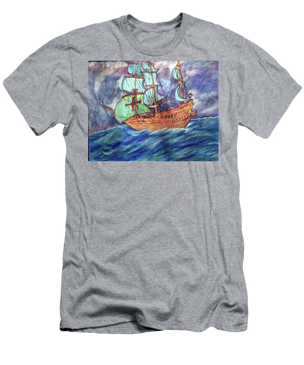 Seascape T-Shirt featuring the painting Discovery by Marco Morales