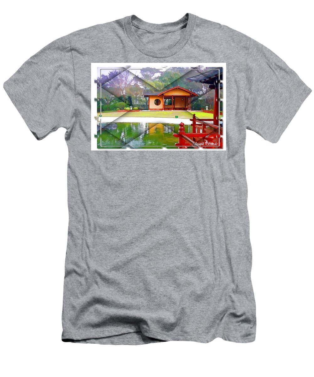 Gardens Men's T-Shirt (Athletic Fit) featuring the photograph Djg-0004 Pavilion View Of Teahouse by Digital Oil