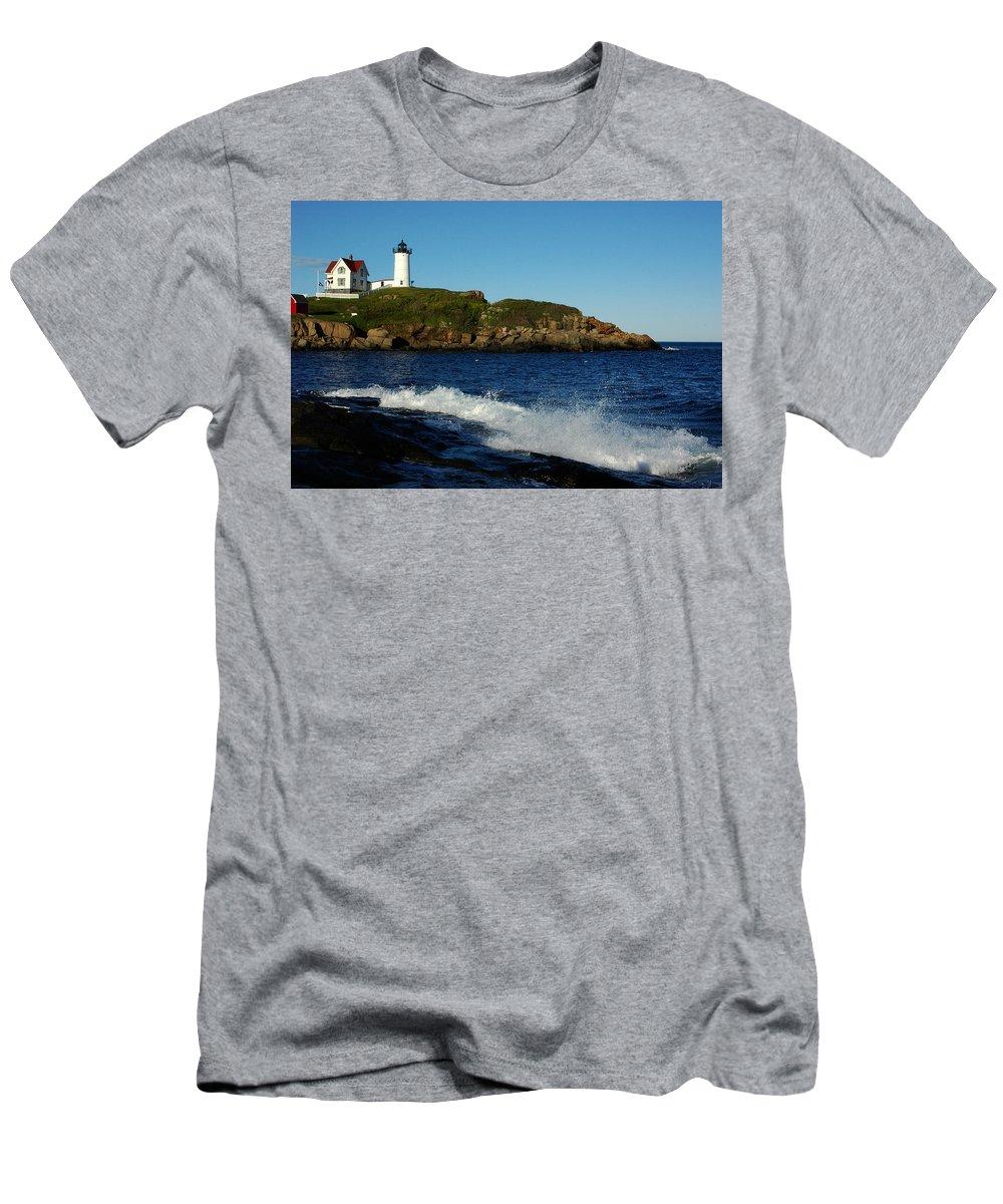 Landscape Lighthouse Nautical New England Cape Neddick Nubble Light Men's T-Shirt (Athletic Fit) featuring the photograph Dnre0608 by Henry Butz