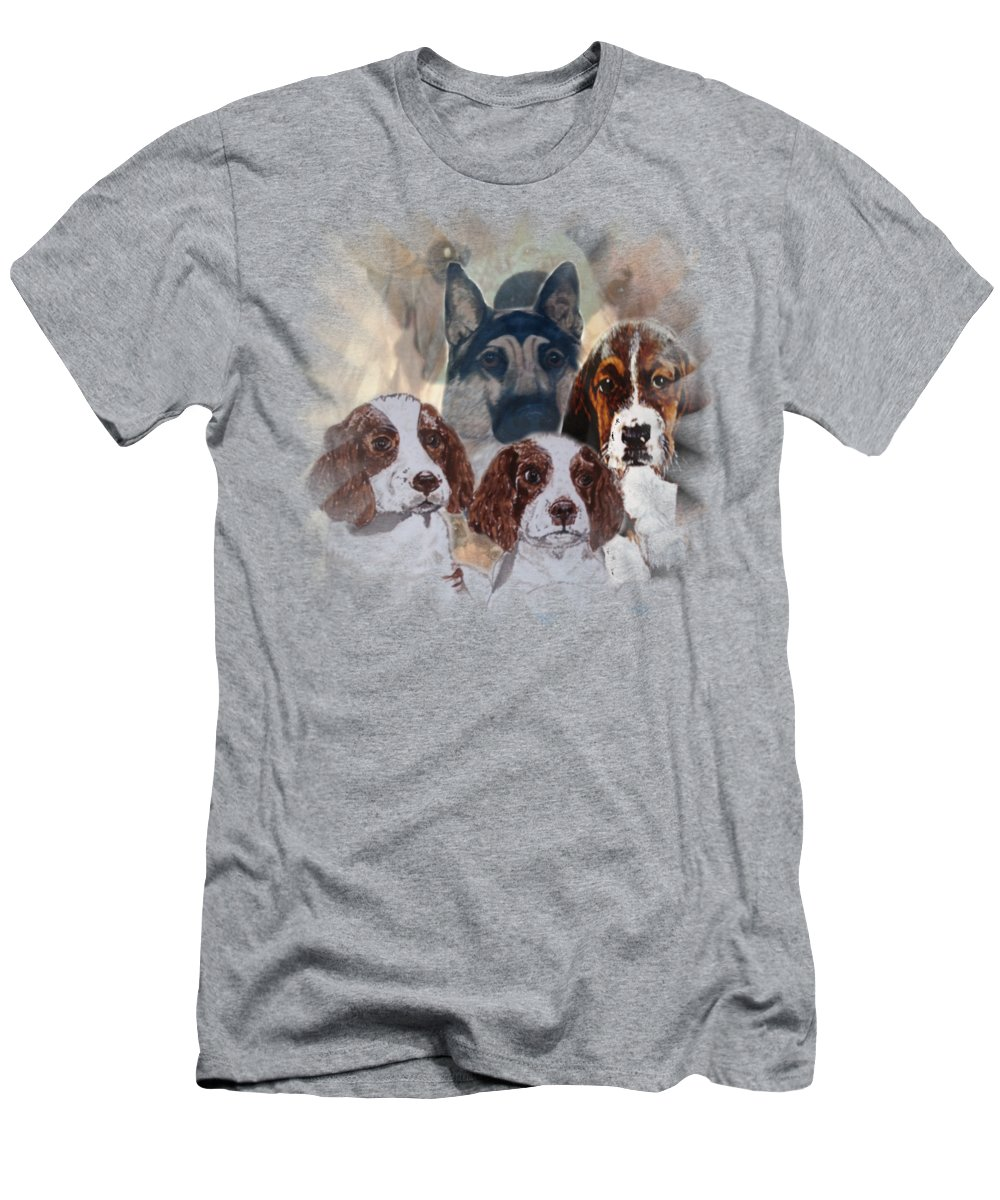 Dogs Men's T-Shirt (Athletic Fit) featuring the painting Dog Collage by Teresa Peterson