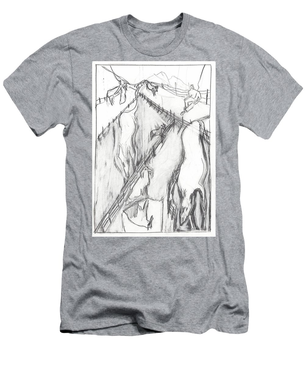 Dog Men's T-Shirt (Athletic Fit) featuring the drawing Dog Walking by Artist Dot