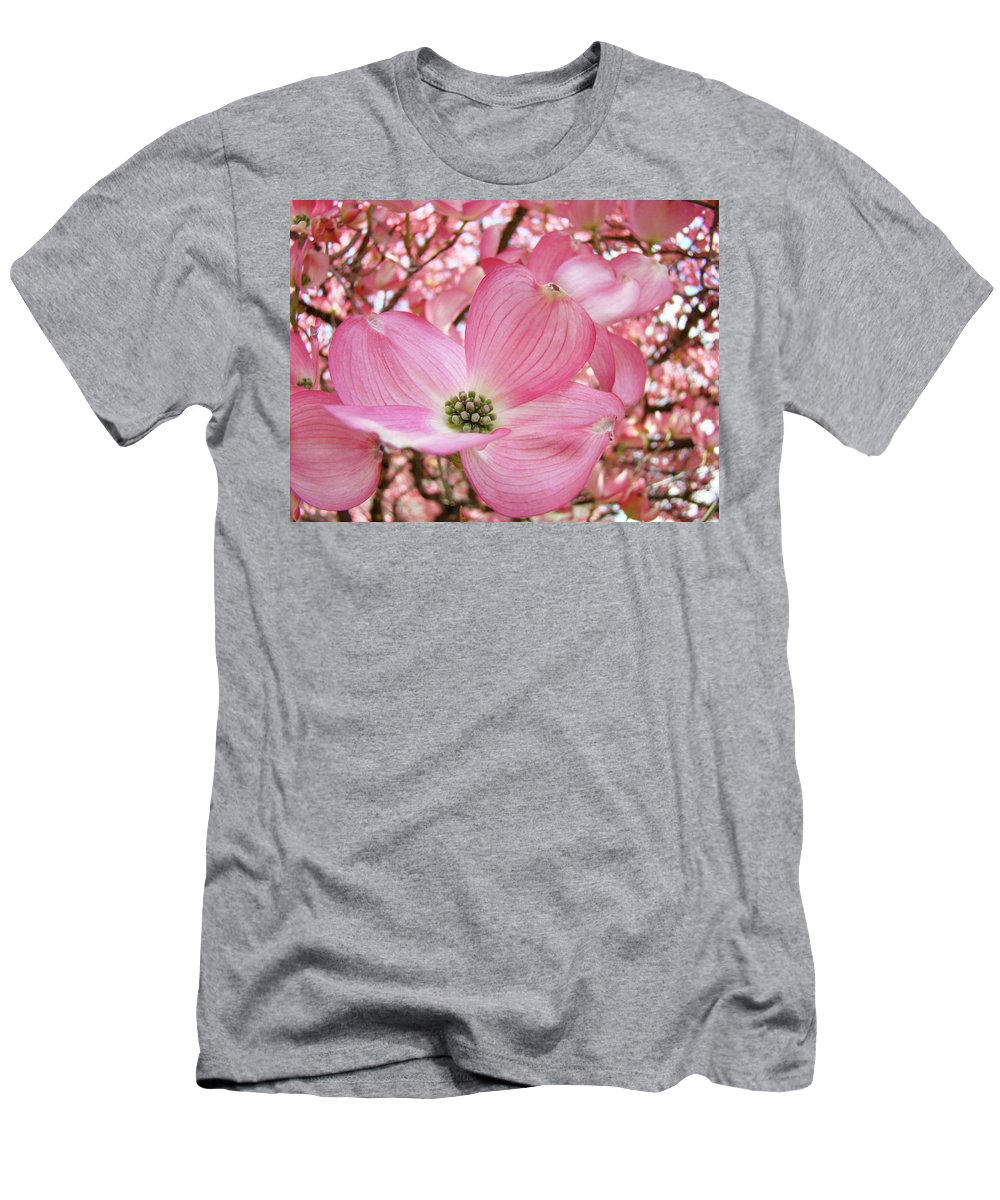 Dogwood Men's T-Shirt (Athletic Fit) featuring the photograph Dogwood Tree 1 Pink Dogwood Flowers Artwork Art Prints Canvas Framed Cards by Baslee Troutman