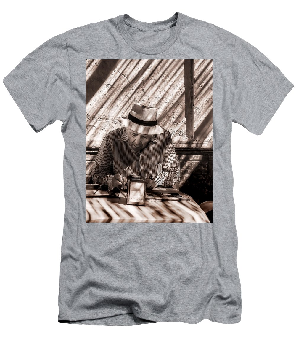 Adult Men's T-Shirt (Athletic Fit) featuring the photograph Doing The Crossword Puzzle by Peter Hayward Photographer