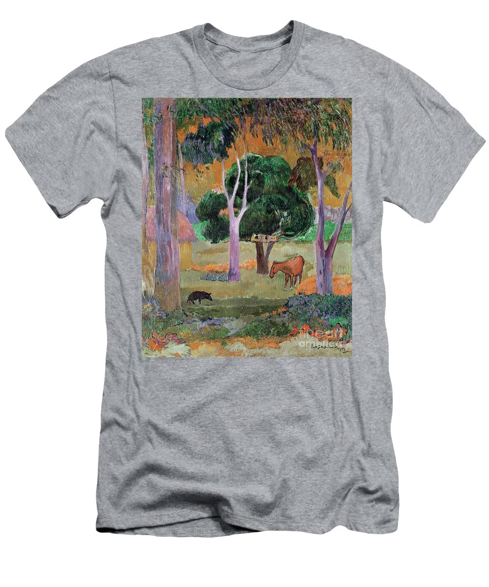 Dominican Landscape Or Men's T-Shirt (Athletic Fit) featuring the painting Dominican Landscape by Paul Gauguin